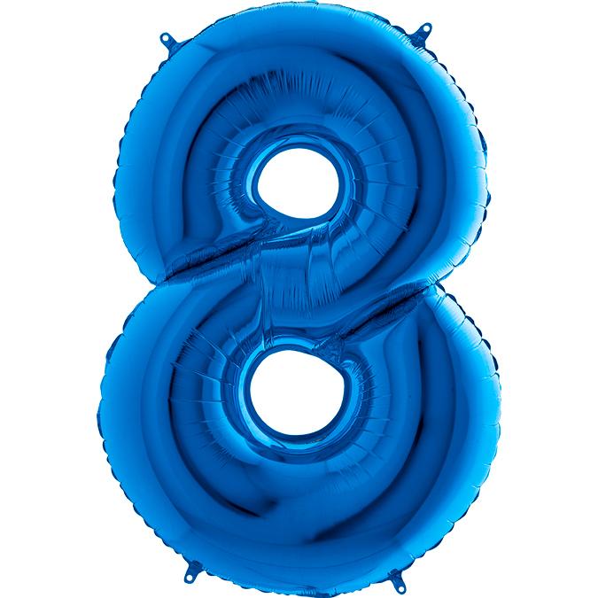 XXL Folienballon blau Zahl 8