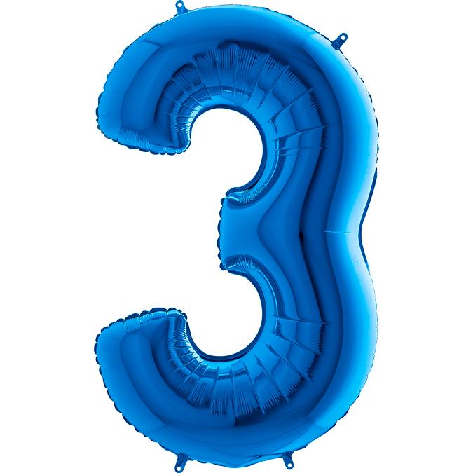 XXL Folienballon blau Zahl 3