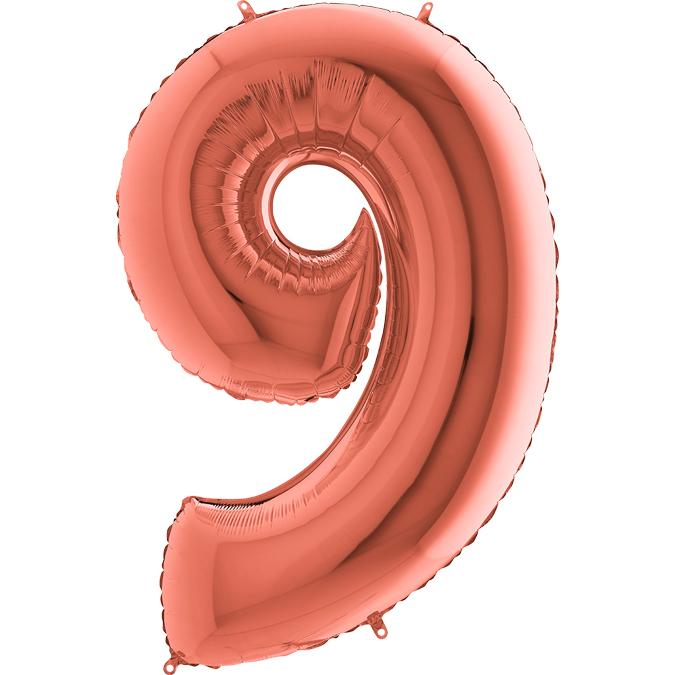 XXL Folienballon rosegold Zahl 9
