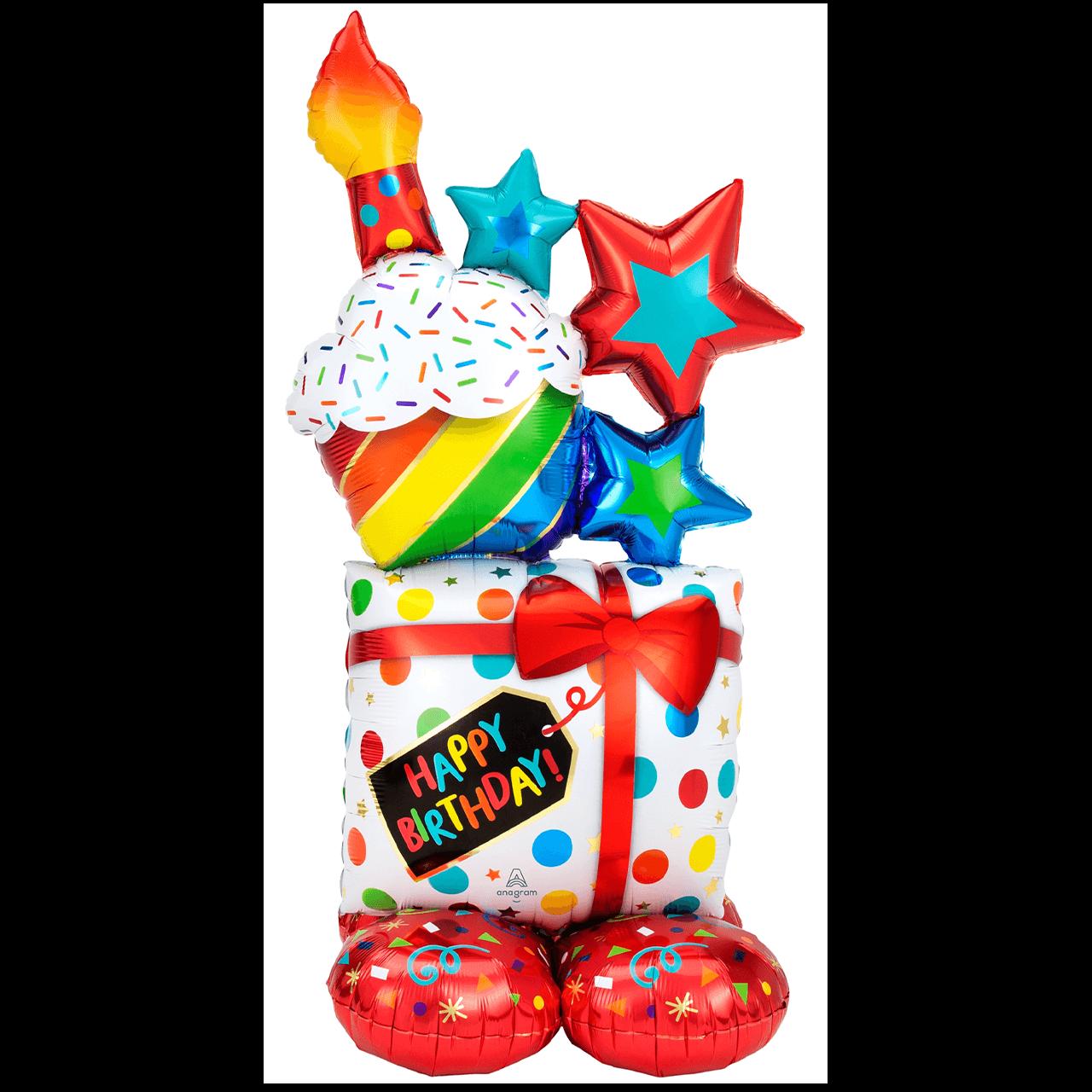 AirLoonz - Stacked Happy Birthday Icons Folienballon