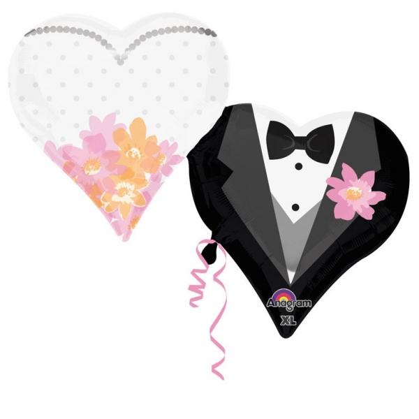 Brautpaar Herzen Folienballon