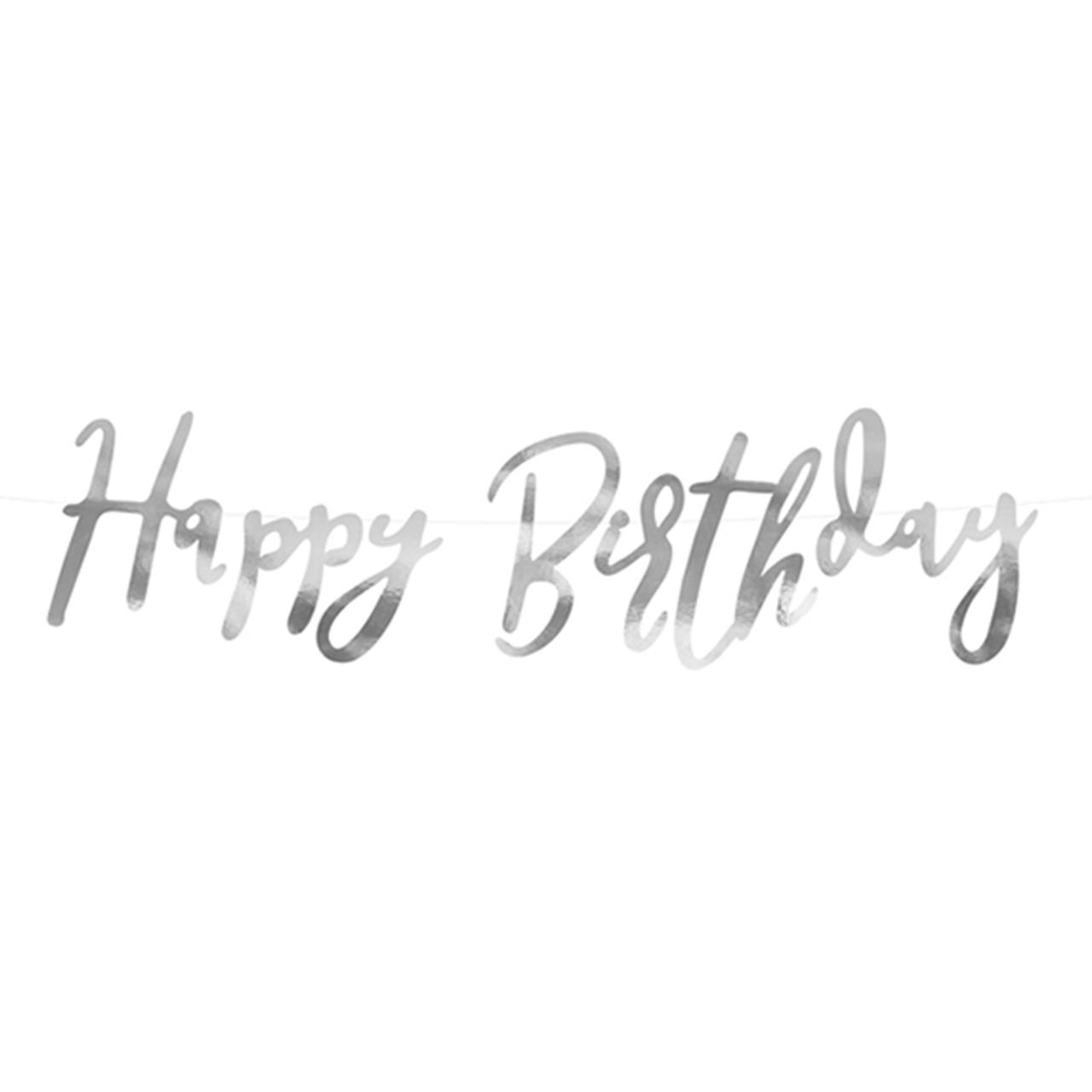 Banner / Girlande - Happy Birthday - Silber