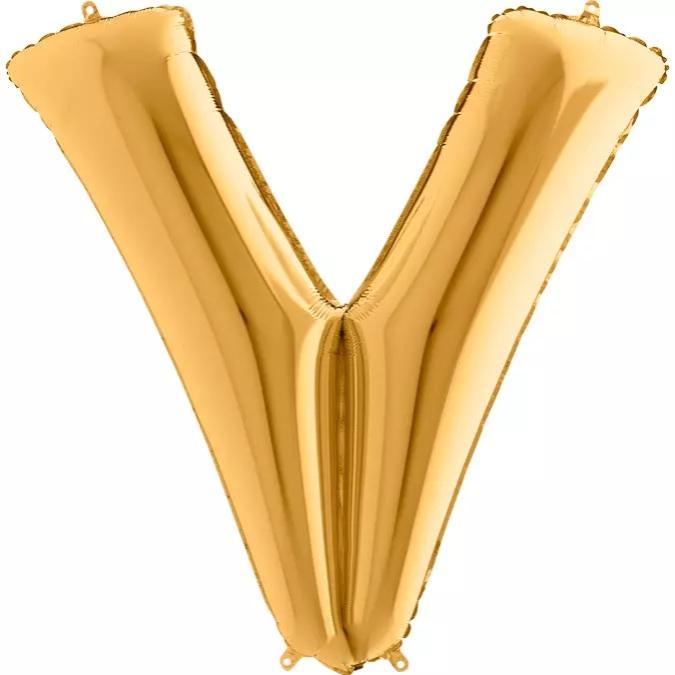 XXL Folienballon gold Buchstabe V