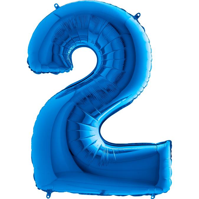 XXL Folienballon blau Zahl 2