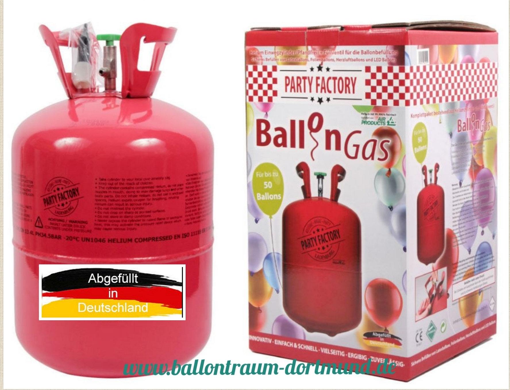 Helium / Ballongas Einwegflasche 50er / 0,42qm Ballon deutsche Abfüllung
