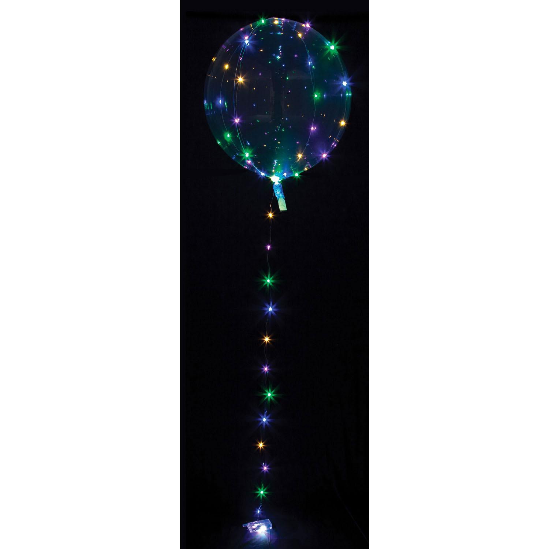 Clearz Crystal Clear mit LED Lichterkette bunt - Folienballon